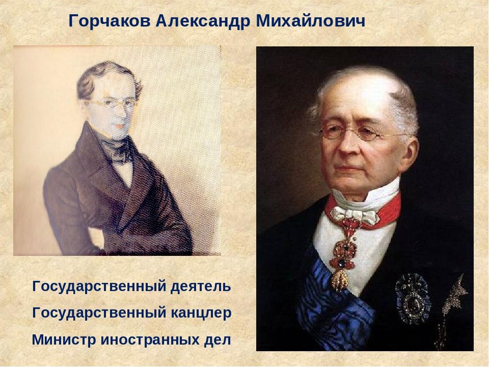 Горчаков Александр Михайлович Государственный деятель Государственный канцлер...