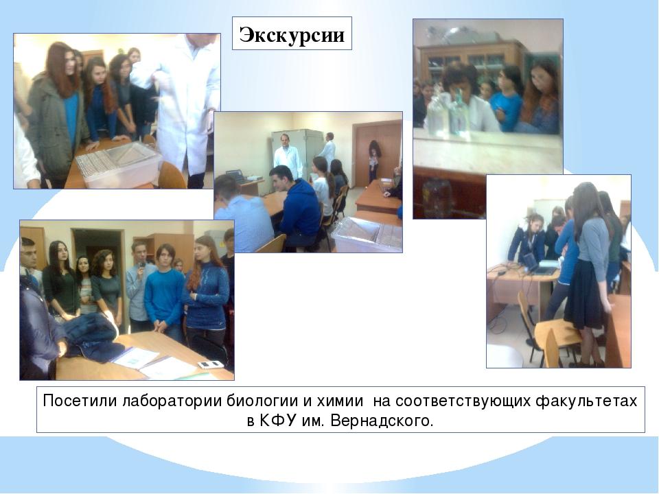Экскурсии Посетили лаборатории биологии и химии на соответствующих факультета...