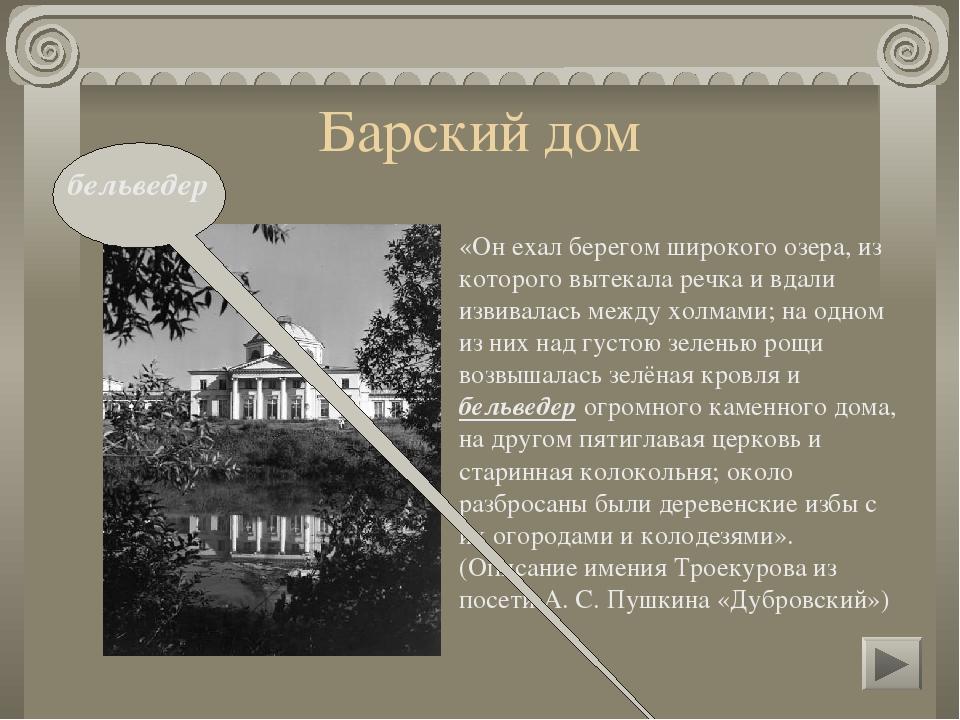 Барский дом «Выехав из деревни, поднялись они на гору, и Владимир увидел берё...