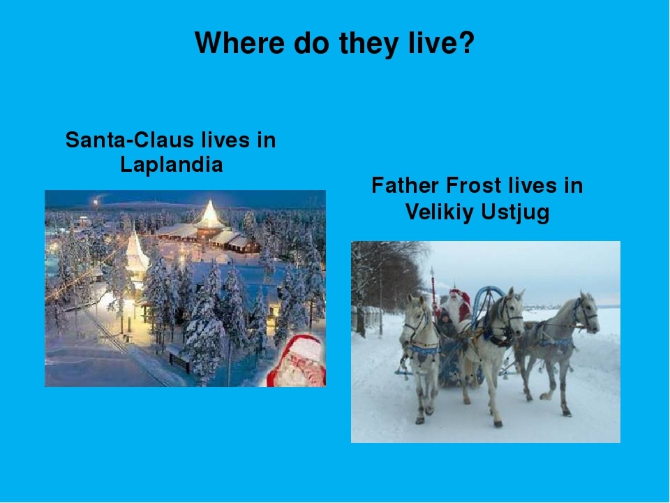 Where do they live? Santa-Claus lives in Laplandia Father Frost lives in Veli...