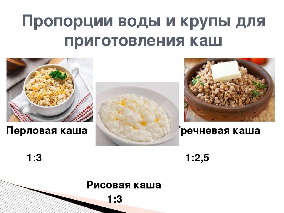 Рисовая каша пропорции