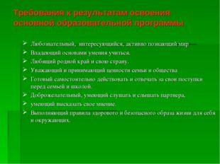 Требования к результатам освоения основной образовательной программы Любознат