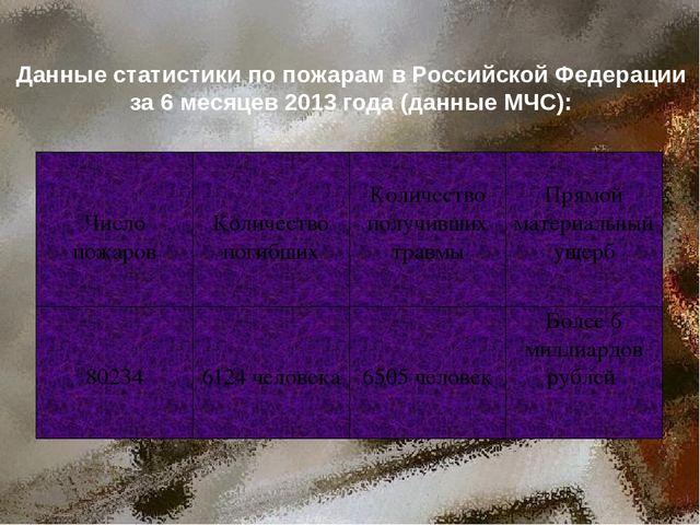 Данные статистики по пожарам в Российской Федерации за 6 месяцев 2013 года (д...
