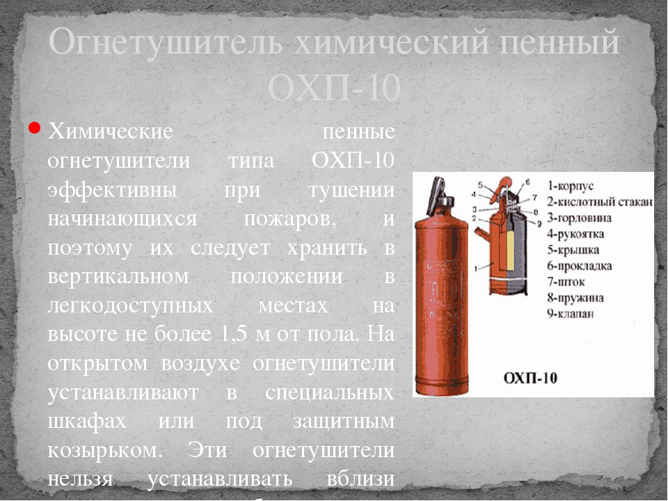 Химические пенные огнетушители типа ОХП-10 эффективны при тушении начинающихс...