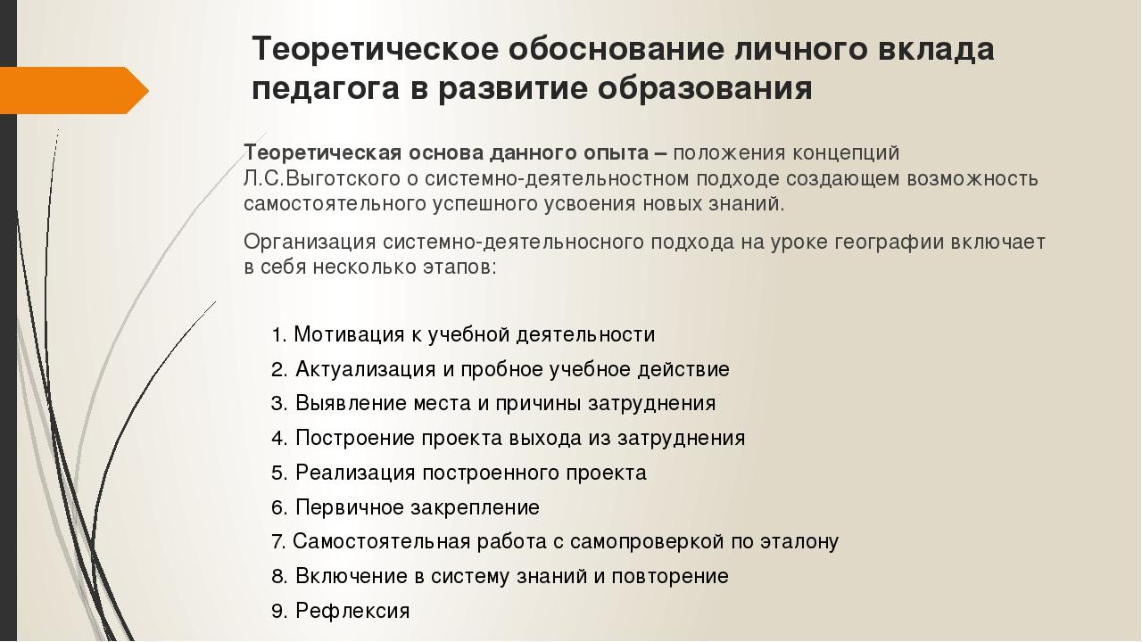 Теоретическое обоснование личного вклада педагога в развитие образования Теор...