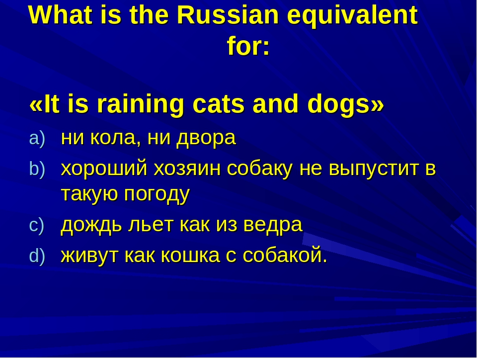 What is the Russian equivalent for: «It is raining cats and dogs» ни кола, ни...