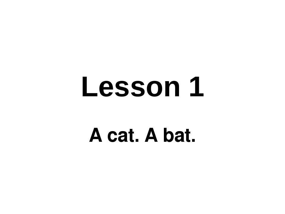 Lesson 1 A cat. A bat.
