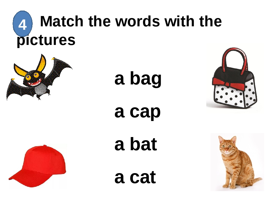 Match the words with the pictures 4 a bag a cap a bat a cat