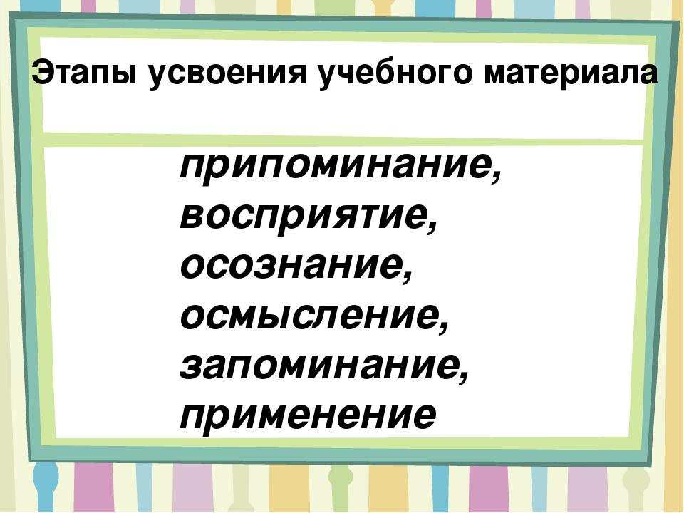 припоминание, восприятие, осознание, осмысление, запоминание, применение Этап...
