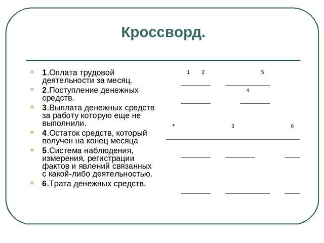 Тема урока Учёт кассовых операций часть  Кроссворд 1 Оплата трудовой деятельности за месяц 2 Поступление денежных ср