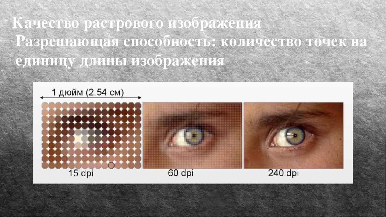 Качество растрового изображения Разрешающая способность: количество точек на...