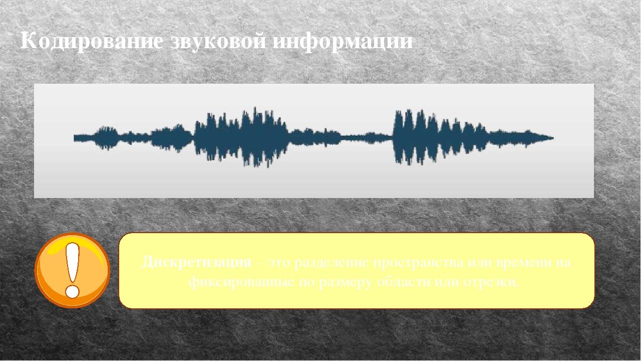 Кодирование звуковой информации Дискретизация – это разделение пространства и...