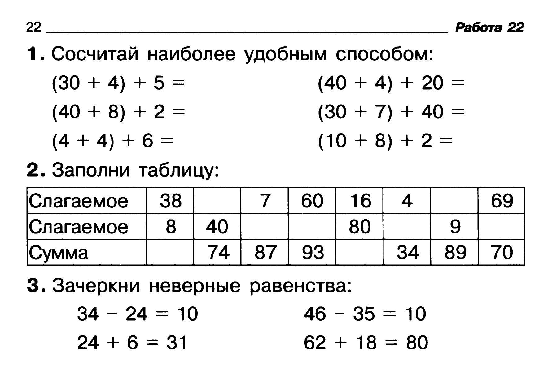 Индивидуальные карточки математика 4 класс