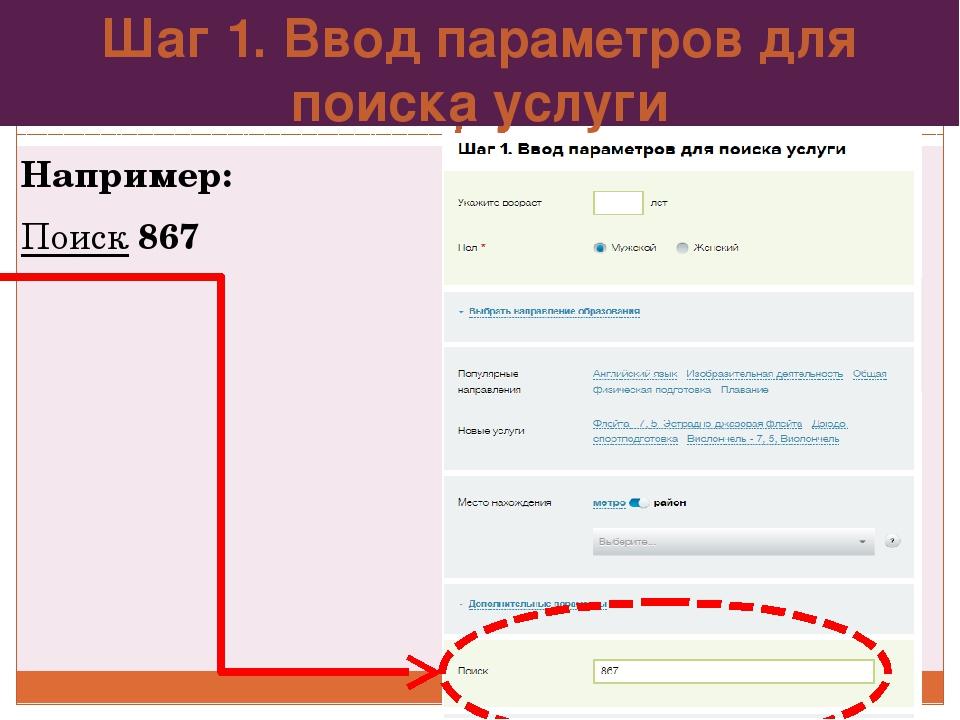 Шаг 1. Ввод параметров для поиска услуги Например: Поиск 867
