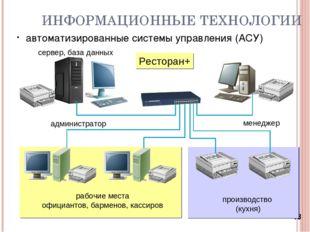 * ИНФОРМАЦИОННЫЕ ТЕХНОЛОГИИ автоматизированные системы управления (АСУ) Ресто