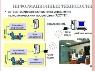 * ИНФОРМАЦИОННЫЕ ТЕХНОЛОГИИ автоматизированные системы управления технологиче