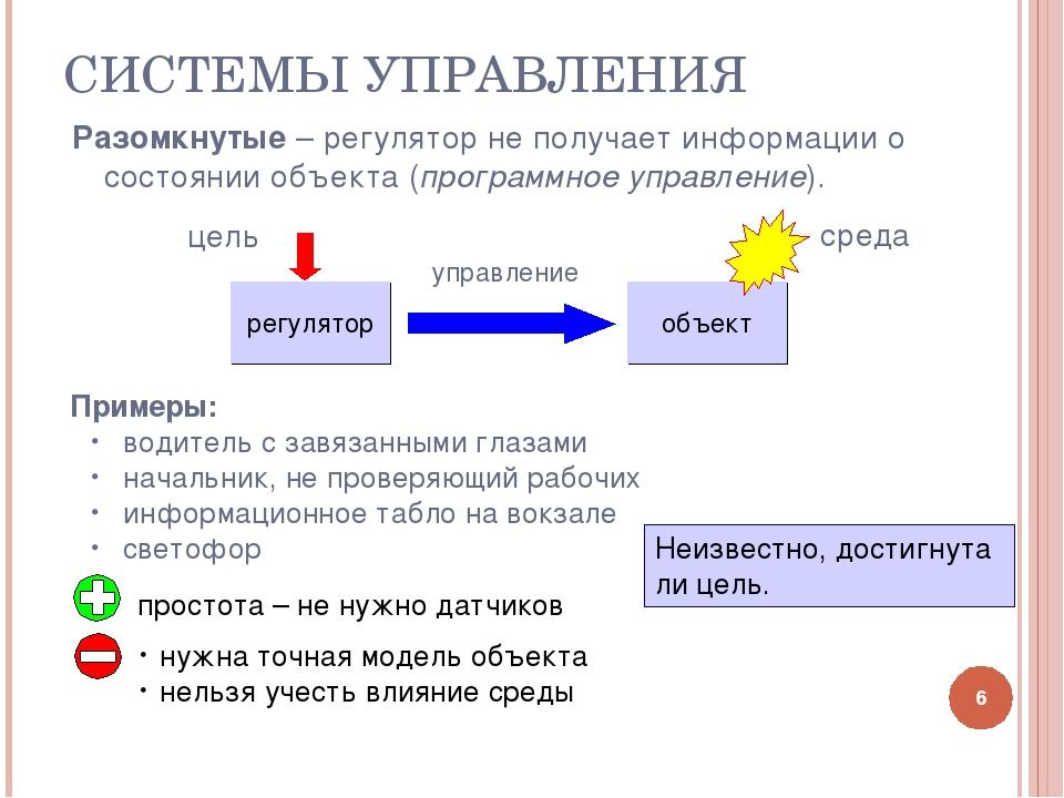 СИСТЕМЫ УПРАВЛЕНИЯ * Разомкнутые – регулятор не получает информации о состоян...