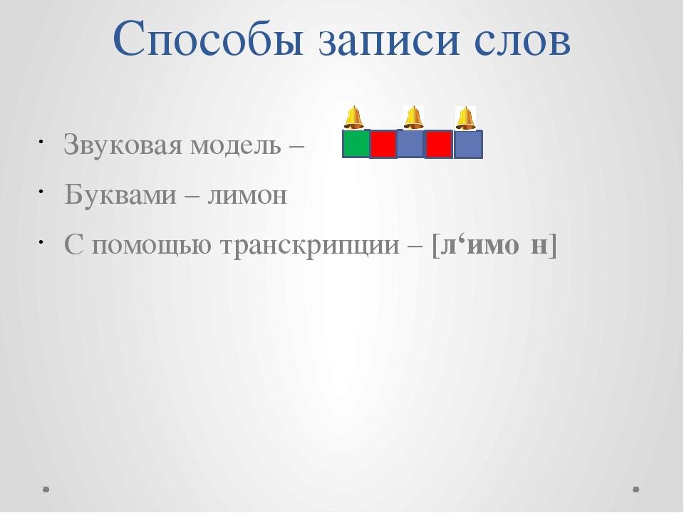 Способы записи слов Звуковая модель – Буквами – лимон С помощью транскрипции...