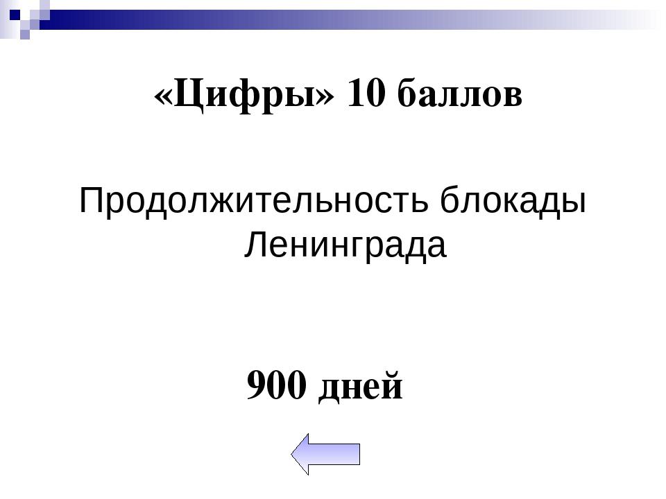 «Цифры» 10 баллов Продолжительность блокады Ленинграда 900 дней