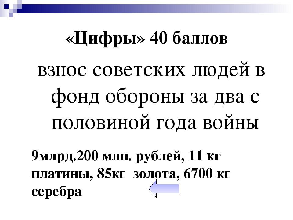 «Цифры» 40 баллов взнос советских людей в фонд обороны за два с половиной год...