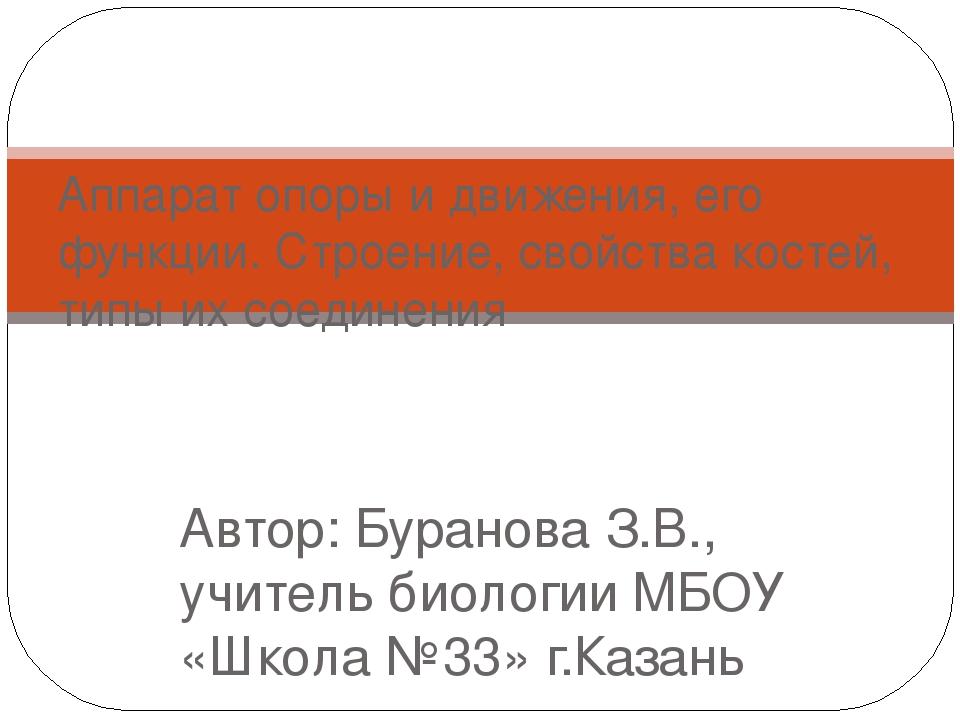 Автор: Буранова З.В., учитель биологии МБОУ «Школа №33» г.Казань Аппарат опор...