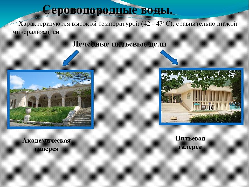 Сероводородные воды. Характеризуются высокой температурой (42 - 47°С), сравни...