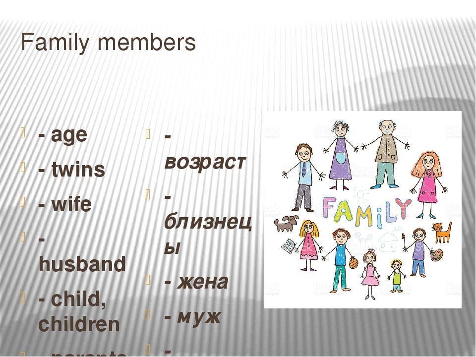 Family members - age - twins - wife - husband - child, children - parents - a...