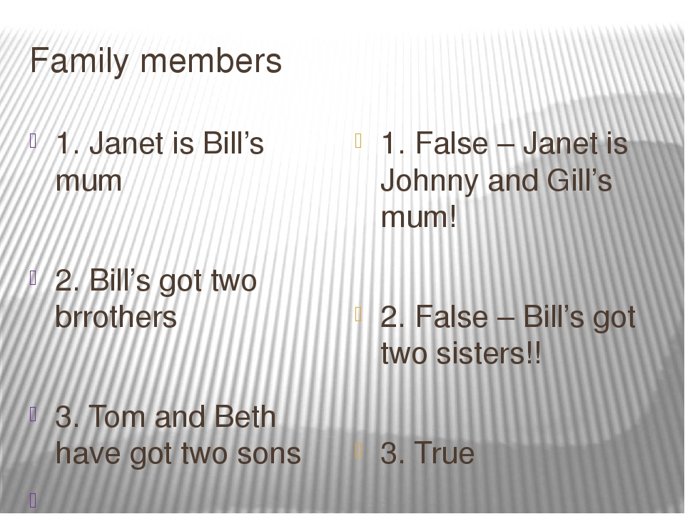 Family members 1. Janet is Bill's mum 2. Bill's got two brrothers 3. Tom and...