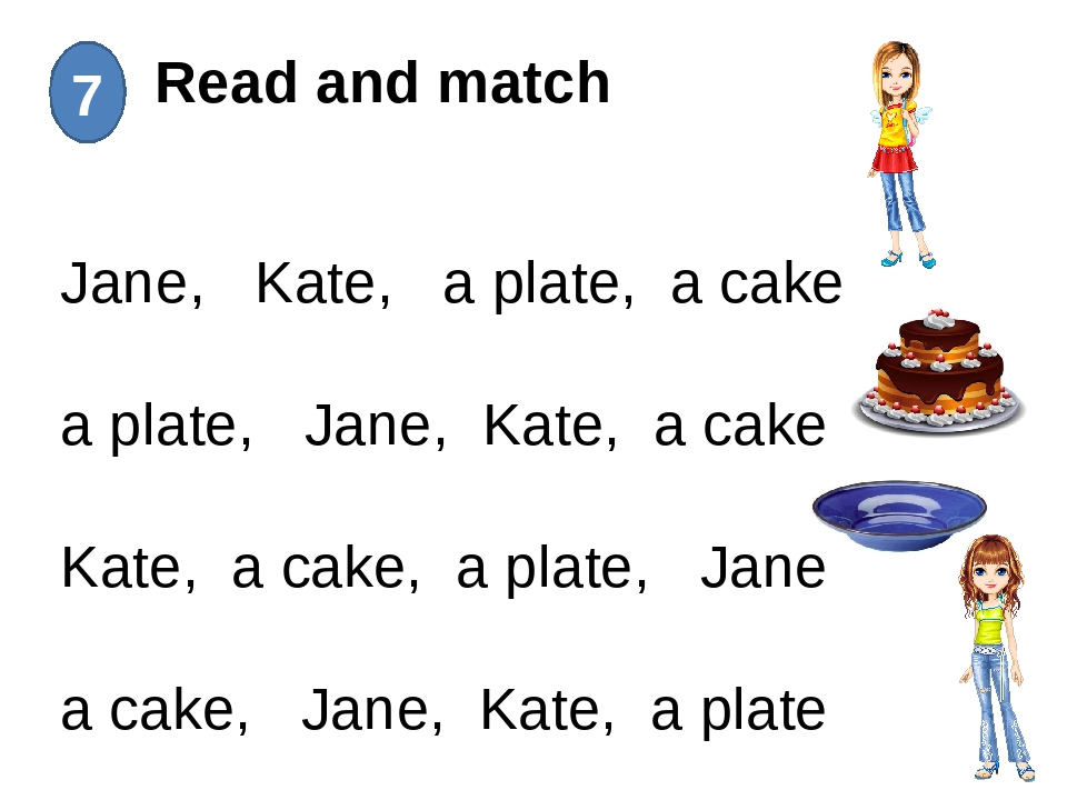 Read and match 7 Jane, Kate, a plate, a cake a plate, Jane, Kate, a cake Kat...