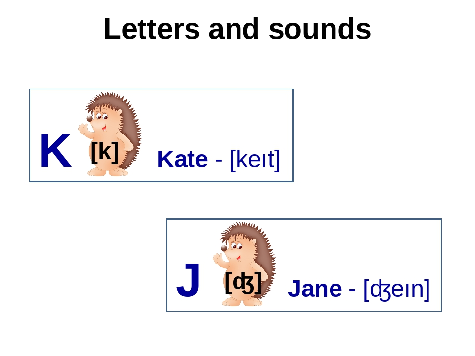 Letters and sounds K [k] Kate - [keıt] J Jane - [ʤeın]
