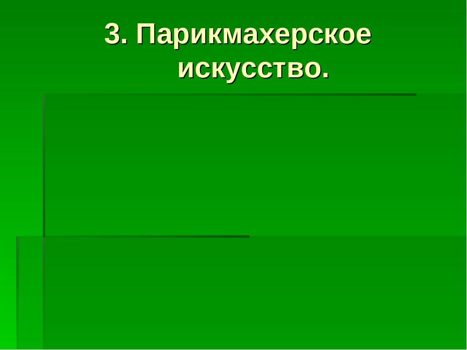 3. Парикмахерское искусство.