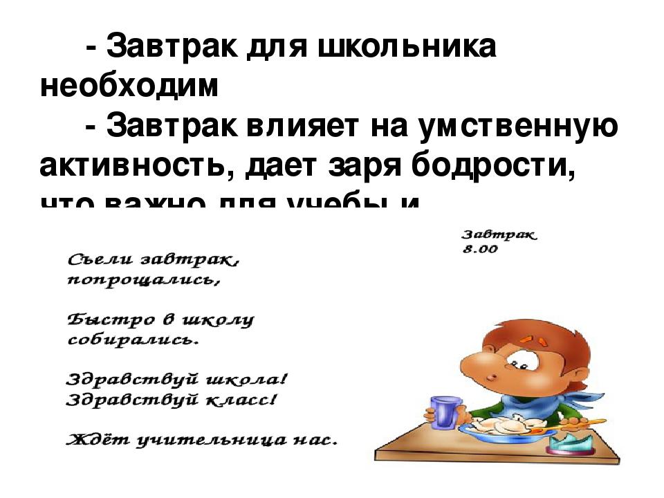- Завтрак для школьника необходим - Завтрак влияет на умственную активность,...