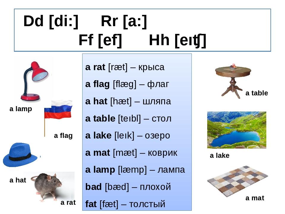 Dd [di:] Rr [a:] Ff [ef] Hh [eıʧ] a rat [ræt] – крыса a flag [flæg] – флаг a...