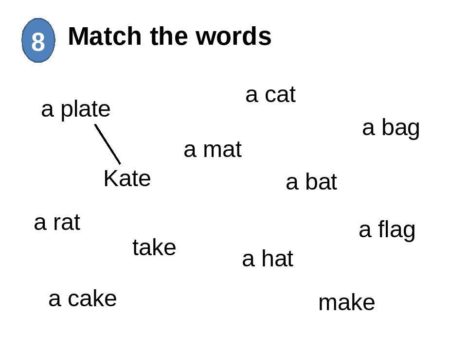 Match the words 8 a plate Kate a rat take a cake a mat a cat a bat a hat mak...