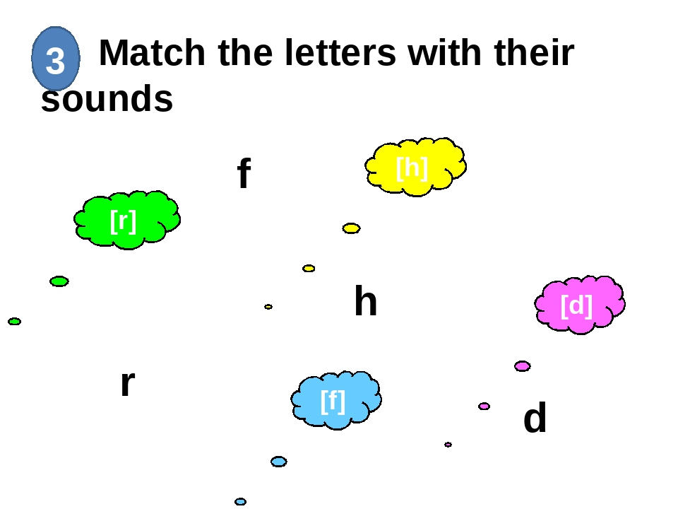 Match the letters with their sounds 3 h f d r [f] [d] [h] [r]