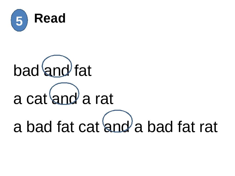Read 5 bad and fat a cat and a rat a bad fat cat and a bad fat rat