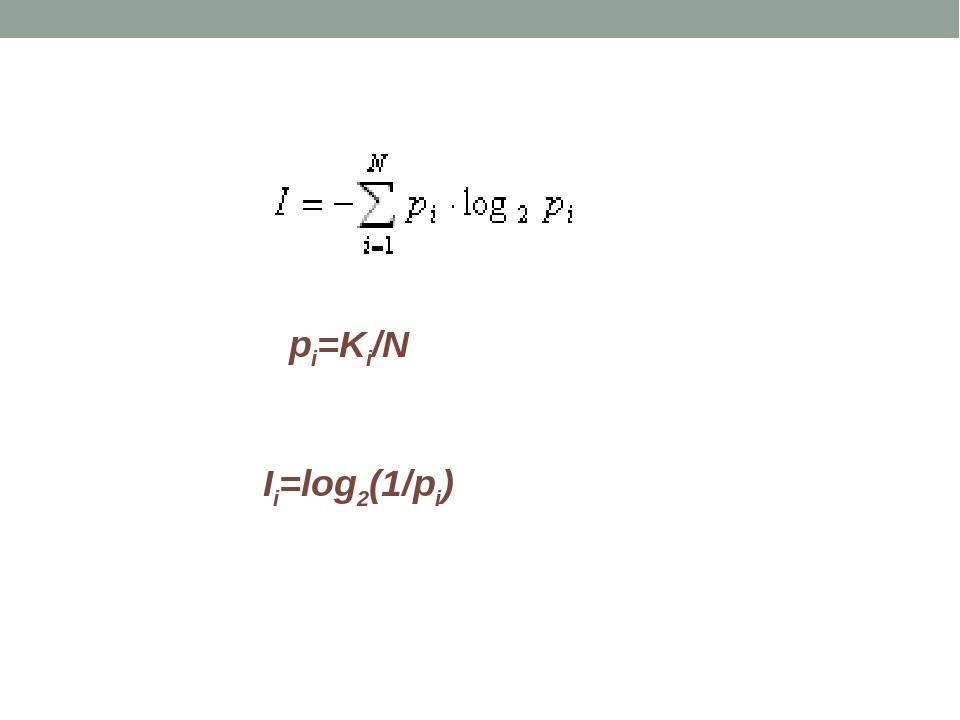 рi=Ki/N Ii=log2(1/pi)