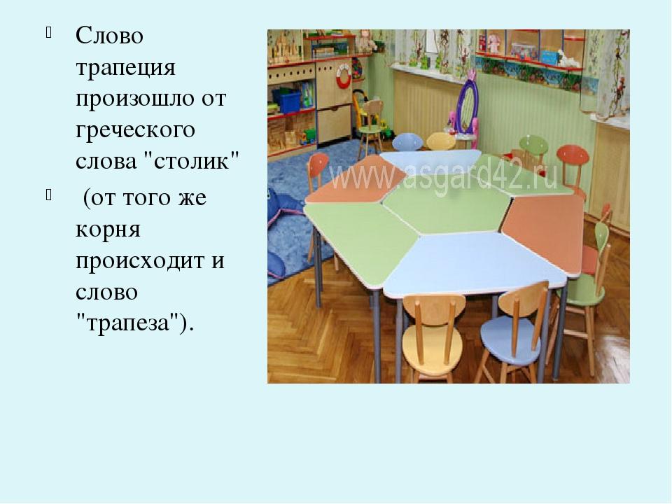 "Слово трапеция произошло от греческого слова ""столик"" (от того же корня прои..."