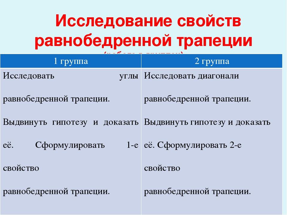 Исследование свойств равнобедренной трапеции (работа в группах) 1 группа 2 г...