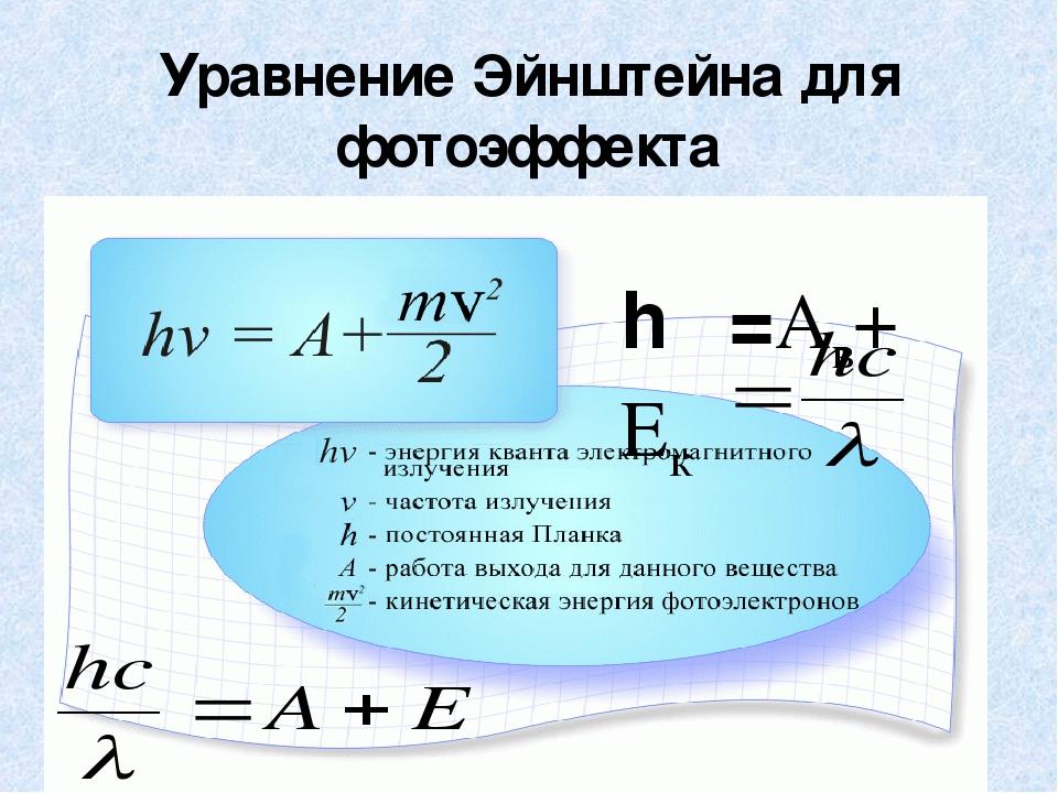 Формула работы фотоэлектрона