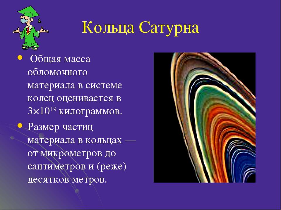 Кольца Сатурна Общая масса обломочного материала в системе колец оценивается...
