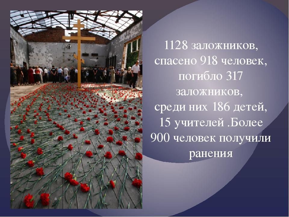 1128 заложников, спасено 918 человек, погибло 317 заложников, среди них 186 д...