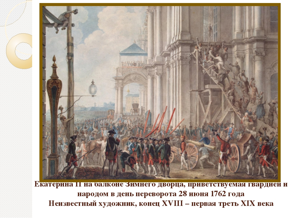 Екатерина II на балконе Зимнего дворца, приветствуемая гвардией и народом в д...