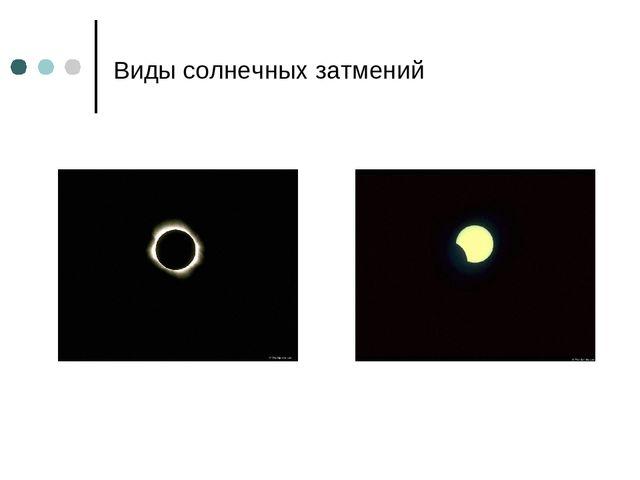Виды солнечных затмений