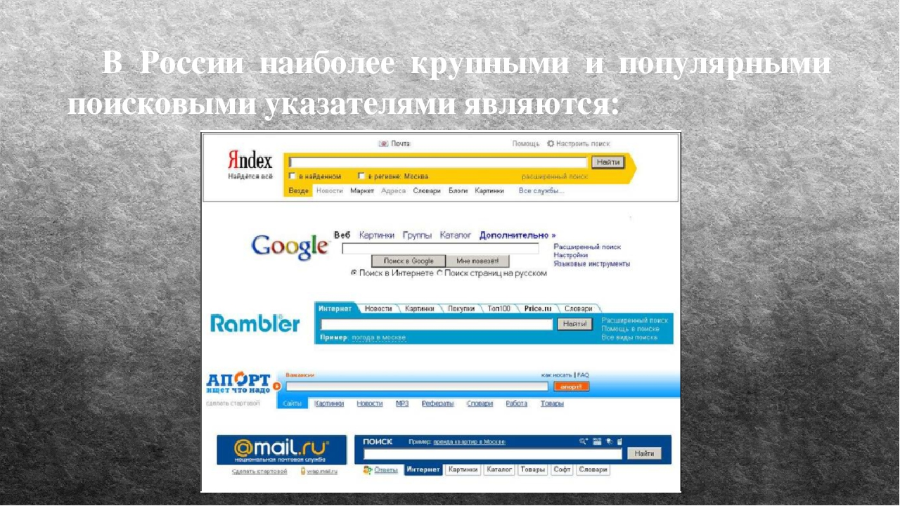 В России наиболее крупными и популярными поисковыми указателями являются: