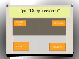 """Гра """"Обери сектор"""" ІСТОРІЯ (2) ГЕРОЙ (2) СЛОВО (2) ПОДІЯ(1)"""