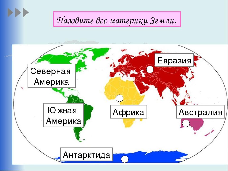 Назовите все материки Земли. Евразия Африка Австралия Северная Америка Южная...