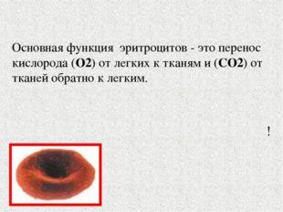 Основная функция эритроцитов - это перенос кислорода (O2) от легких к тканям