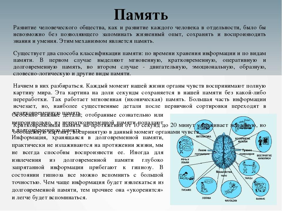 Память Развитие человеческого общества, как и развитие каждого человека в отд...