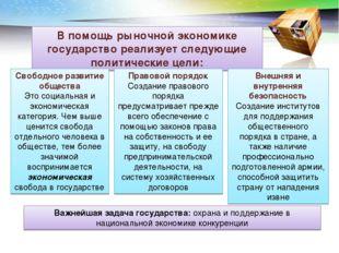 В помощь рыночной экономике государство реализует следующие политические цели
